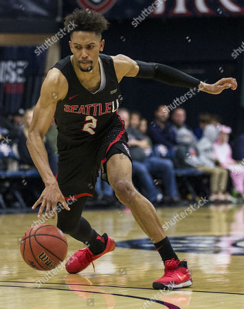 Moraga CA, U.S.A. Seattle guard Jordan Hill (2) scored 10 points, 5 rebounds, 5 assist and 1 steal brings the ball up court during NCAA Men's Basketball game between Seattle Redhawks and Saint Mary's Gaels 73-97 lost at McKeon Pavilion Moraga Calif. Thurman James / CSM