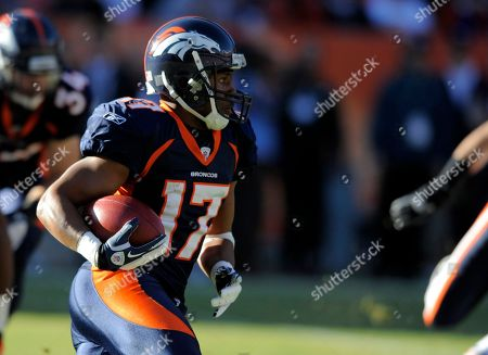 Denver Broncos wide receiver Quan Cosby runs during an NFL football game between the Denver Broncos and the Chicago Bears in Denver
