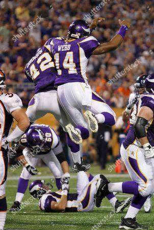 Joe Webb, Ian Johnson. Minnesota Vikings running back Ian Johnson (42) celebrates Minnesota Vikings quarterback Joe Webb (14) after a touchdown during the NFL pre-season football game against the Denver Broncos in Minneapolis