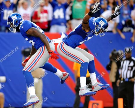 Martellus Bennett, Ramses Barden. New York Giants' Martellus Bennett, left, celebrates with Ramses Barden (13) after Bennett scored a touchdown during the second half of an NFL football game against the Tampa Bay Buccaneers, in East Rutherford, N.J. The Giants won 41-34