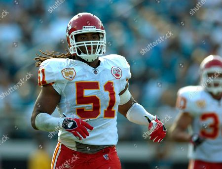 Kansas City Chiefs linebacker Corey Mays runs down field against the Jacksonville Jaguars during a NFL football game, in Jacksonville, Fla
