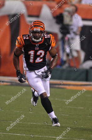 Cincinnati Bengals wide receiver Quan Cosby #12 in action against the Indianapolis Colts in the first half of an NFL football game, in Cincinnati