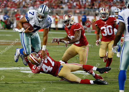 Marcus Cromartie, Jameill Showers. Dallas Cowboys quarterback Jameill Showers (7) is tackled by San Francisco 49ers defensive back Marcus Cromartie (47) during the second half of an NFL preseason football game in Santa Clara, Calif