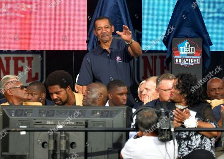 Enshrinee Charlie Sanders is introduced during the Pro Football Hall of Fame enshrinement ceremony, in Canton, Ohio