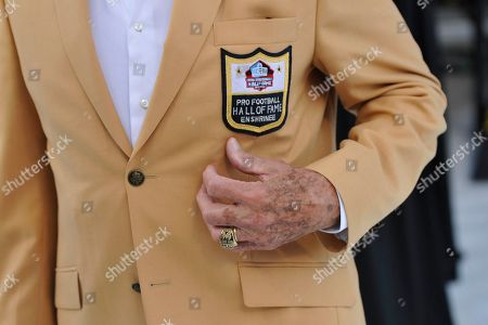 Stock Picture of Former NFL football player Frank Gifford during the induction ceremony at the Pro Football Hall of Fame, in Canton, Ohio. (AP Photo/David Richard)The gold jacket of former NFL football player Frank Gifford during the induction ceremony at the Pro Football Hall of Fame Saturday, Aug. 3, 2013, in Canton, Ohio