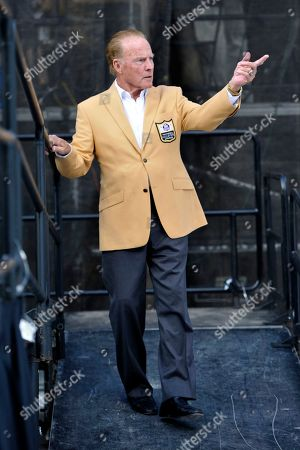 Stock Photo of Former NFL football player Frank Gifford during the induction ceremony at the Pro Football Hall of Fame, in Canton, Ohio