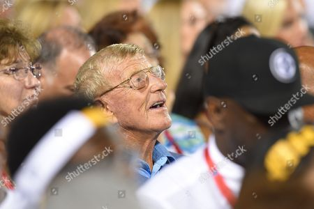 Lou Holtz attends the induction ceremony for Jerome Bettis at the Pro Football Hall of Fame, in Canton, Ohio