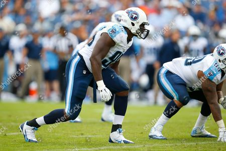 Tennessee Titans outside linebacker Kamerion Wimbley (95) lines up against the Jacksonville Jaguars during an NFL football game, in Nashville, Tenn