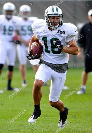 New York Jets wide receiver Scotty McKnight runs with the ball at their NFL football training camp, in Cortland, N.Y