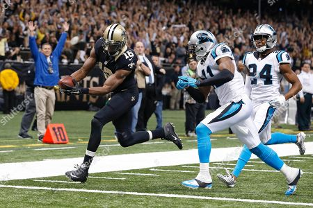 Brandon Coleman, Roman Harper, Josh Norman. New Orleans Saints wide receiver Brandon Coleman (16) scores a touchdown against Carolina Panthers strong safety Roman Harper (41) and cornerback Josh Norman (24) and in the second half of an NFL football game in New Orleans