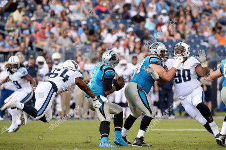 Tennessee Titans inside linebacker Avery Williamson (54) pressures Carolina Panthers quarterback Cam Newton (1) the first half of an NFL preseason football game, in Nashville, Tenn