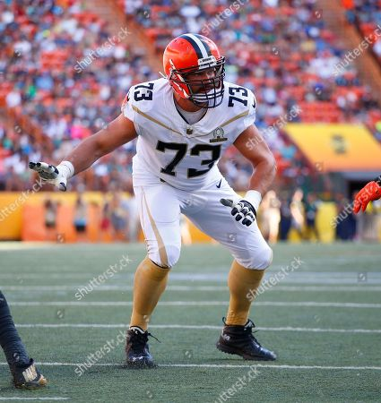 Cleveland Brown tackle Joe Thomas set to block during the NFL Pro Bowl football game, in Honolulu