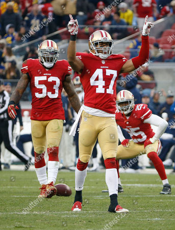 NaVorro Bowman, Marcus Cromartie, Jimmie Ward. San Francisco 49ers linebacker NaVorro Bowman (53), defensive back Marcus Cromartie (47) and strong safety Jimmie Ward (25) against the St. Louis Rams during an NFL football game in Santa Clara, Calif