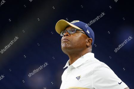 Los Angeles Rams defensive coach Mike Singletary is seen during pre-game warmups of an NFL football game against the Detroit Lions, in Detroit