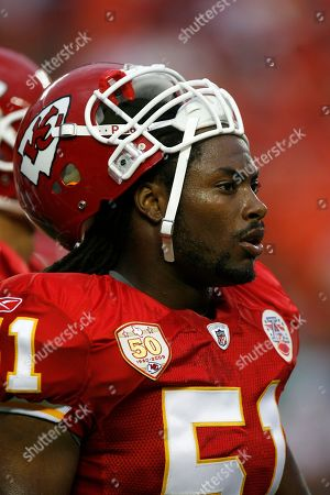 Kansas City Chiefs linebacker Corey Mays (51) before an NFL football game between the Houston Texans and Kansas City Chiefs in Kansas City, Mo