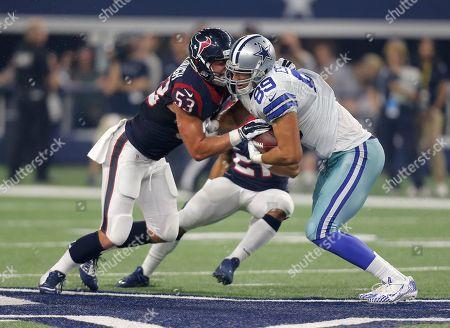 Gavin Escobar, Max Bullough. Houston Texans' Max Bullough (53) defends as Dallas Cowboys' Gavin Escobar (89) fights for extra yardage during a preseason NFL football game, in Arlington, Texas