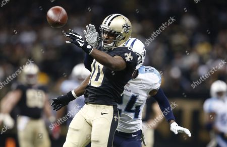 Kyle Wilson, Brandin Cooks. Tennessee Titans cornerback Coty Sensabaugh (24) tries to break up a pass intended for New Orleans Saints wide receiver Brandin Cooks (10) in the second half of an NFL football game in New Orleans