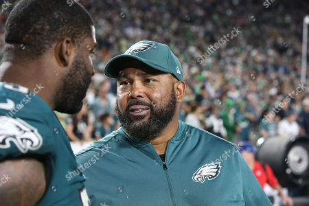 Los Angeles, CA...Defense Line coach Chris Wilson after the NFL Philadelphia Eagles vs Los Angeles Rams at the Los Angeles Memorial Coliseum in Los Angeles, Ca on , 2017. (Absolute Complete Photographer & Company Credit: Jevone Moore / Cal Sport Media (Network Television please contact your Sales Representative for Television usage