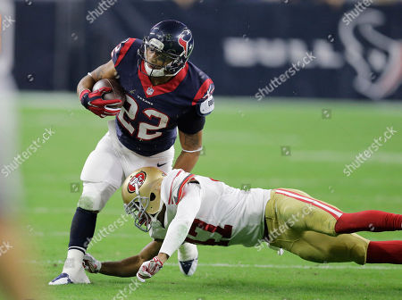Chris Polk, Marcus Cromartie. Houston Texans' Chris Polk (22) is hit by San Francisco 49ers Marcus Cromartie during the second half of an NFL preseason football game, in Houston