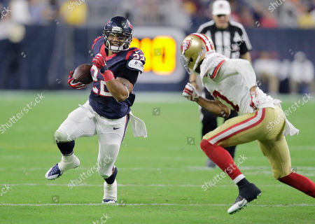 Chris Polk, Marcus Cromartie. Houston Texans' Chris Polk (22) runs at San Francisco 49ers' Marcus Cromartie during the second half of an NFL preseason football game, in Houston