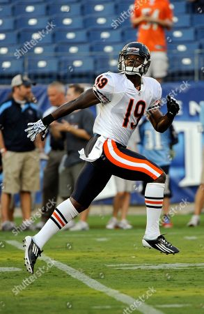 Chicago Bears wide receiver Jimmy Young warms up before an NFL football preseason game between the Chicago Bears and the Tennessee Titans, in Nashville, Tenn