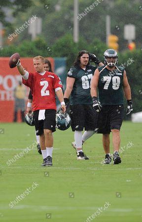 Matt Barkley, Todd Herremans. Philadelphia Eagles' Matt Barkley (2) and Todd Herremans (79) are seen during NFL football training camp, in Philadelphia