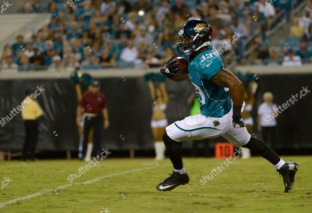 Jacksonville Jaguars running back Richard Murphy runs against the Atlanta Falcons during the second half of an NFL preseason football game, in Jacksonville, Fla