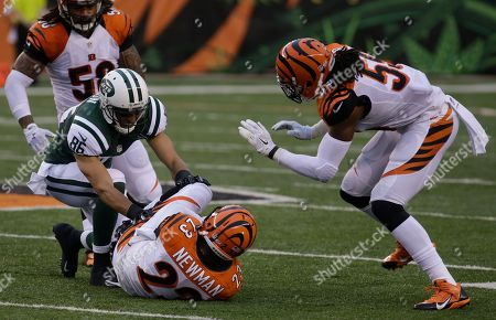 David Nelson, Terence Newman. Cincinnati Bengals cornerback Terence Newman (23) intercepts a pass intended for New York Jets wide receiver David Nelson (86) in the first half of an NFL preseason football game, in Cincinnati