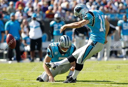 Carolina Panthers' Olindo Mare (10) kicks a field goal against the Washington Redskins during the second quarter of an NFL football game in Charlotte, N.C