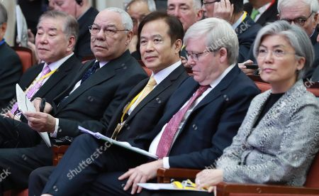 Participants of a forum on a nuclear-free Korea, hosted by the foreign ministry-affiliated Institute of Foreign Affairs and National Security (IFANS), are seated for the event in Seoul, South Korea, 11 December 2017. Attendees include (L-R) Moon Chung-in, presidential assistant on foreign affairs and unification; Colin Powell, former US secretary of state; Cho Byung-jae, head of IFANS; Kevin Rudd, former prime minister of Australia; and Kang Kyung-wha, South Korea's foreign minister.
