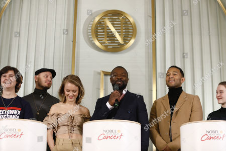 (L-R) Lukas Forchhammer from Danish pop band 'Lukas Graham', Swedish singer Zara Larsson, British actor and host David Oyelowo, American musician John Legend attend a press conference at the Norwegian Nobel Institute in Oslo, Norway, 11 December 2017. The artists will perform at the Nobel Peace Prize Concert.