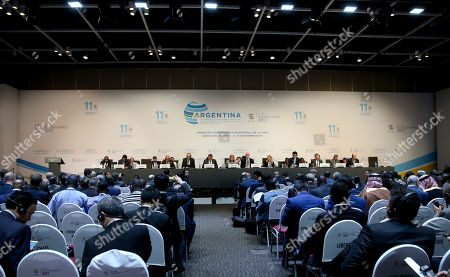 President of the Ministerial Conference of the World Trade Susana Malcorra, center, speaks during the plenary meeting of the Ministerial Conference of the World Trade Organization in Buenos Aires, Argentina