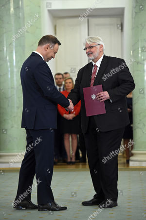 Polish President Andrzej Duda (L) nominates Witold Waszczykowski (R) as new Minister of Foreign Affairs during the ceremony at the Presidential Palace in Warsaw, Poland, 11 December 2017.
