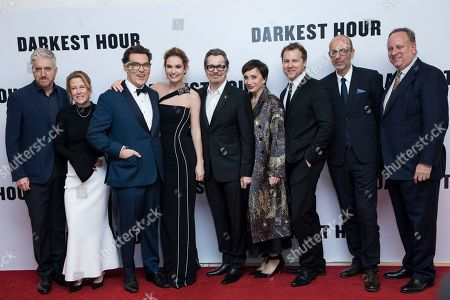 Anthony McCarten, Lisa Bruce, Joe Wright, Lily James, Gary Oldman, Dame Kristin Scott Thomas, Eric Fellner, Douglas Urbanski. Anthony McCarten, Lisa Bruce, Joe Wright, Lily James, Gary Oldman, Dame Kristin Scott Thomas, Eric Fellner and Douglas Urbanski pose for photographers upon arrival at the premiere of the film 'Darkest Hour', in London