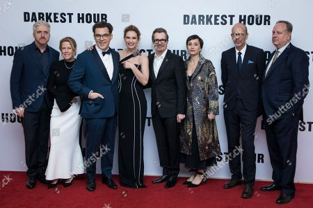 Anthony McCarten, Lisa Bruce, Joe Wright, Lily James, Gary Oldman, Dame Kristin Scott Thomas, Eric Fellner, Douglas Urbanski