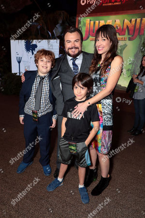 Samuel Jason Black, Jack Black, Thomas David Black and Tanya Haden at Columbia Pictures Los Angeles premiere of JUMANJI: WELCOME TO THE JUNGLE