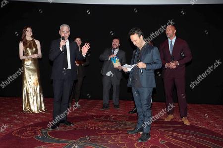 Karen Gillan, Matt Tolmach, Producer, Nick Jonas, Jack Black, Kevin Hart, Jake Kasdan, Director/Executive Producer, and Dwayne Johnson at Columbia Pictures Los Angeles premiere of JUMANJI: WELCOME TO THE JUNGLE