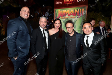 Hiram Garcia, Co-Producer, Matt Tolmach, Producer, Dany Garcia, Executive Producer, Jake Kasdan, Director/Executive Producer, and Melvin Mar, Co-Producer, at Columbia Pictures Los Angeles premiere of JUMANJI: WELCOME TO THE JUNGLE