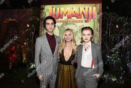 Hollywood, CA December 11, 2017 - Alex Wolff, Madison Iseman and Morgan Turner at Columbia Pictures Los Angeles premiere of JUMANJI: WELCOME TO THE JUNGLE