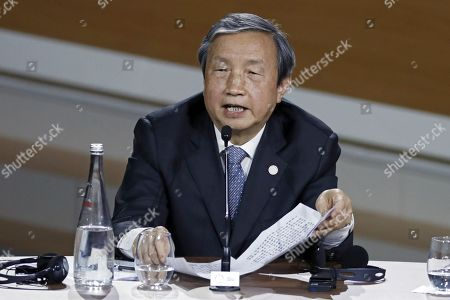 Stock Image of Chinese Vice Prime Minister Ma Kai attends during the Plenary Session of the One Planet Summit at the Seine Musicale event site on the Ile Seguin near Paris, France, 12 December 2017. The One Planet Summit starts on 12 December 2017, two years to the day after the historic Paris Agreement was concluded.
