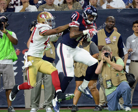 Marcus Cromartie, Jaelen Strong. Houston Texans' Jaelen Strong (11) catches a pass for a touchdown as San Francisco 49ers' Marcus Cromartie (47) defends him during the second half of an NFL preseason football game, in Houston