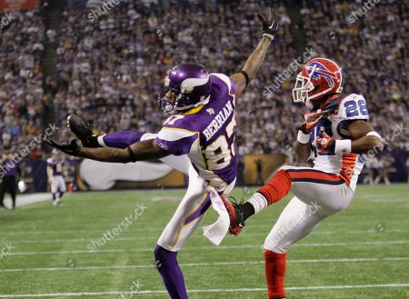 Bernard Berrian, Leodis McKelvin. Minnesota Vikings wide receiver Bernard Berrian (87) attempts to make a catch but Buffalo Bills cornerback Leodis McKelvin (28) was called for pass interference on the play during of their NFL football game in Minneapolis