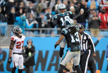 Philly Brown, Kelvin Benjamin. Carolina Panthers' Philly Brown (16) celebrates his touchdown catch against the Atlanta Falcons with Kelvin Benjamin (13) in the second half of an NFL football game in Charlotte, N.C