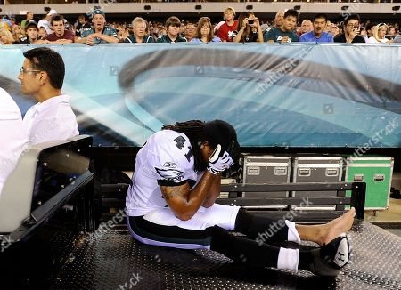 Philadelphia Eagles Antoine Harris is carted off the field after an injury in the second half of an NFL preseason football game against the Jacksonville Jaguars, in Philadelphia. Philadelphia won 28-27