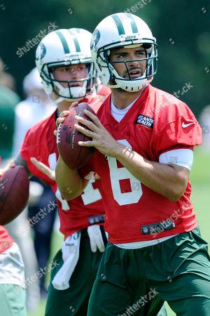 Mark Sanchez, Greg McElroy. New York Jets quarterbacks Mark Sanchez and Greg McElroy, left, during NFL football minicamp, in Florham Park, N.J