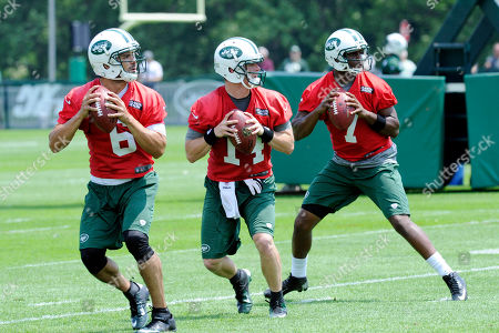 Mark Sanchez, Greg McElroy, Geno Smith. New York Jets quarterbacks Mark Sanchez (6), Greg McElroy (14) and Geno Smith practice during NFL football minicamp, in Florham Park, N.J