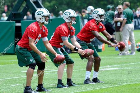 Mark Sanchez, Greg McElroy, Geno Smith. New York Jets quarterbacks Mark Sanchez (6), Greg McElroy (14) and Geno Smith practice during NFL football minicamp, in Florham Park, N.J