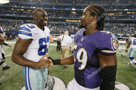 Brian Clarke, Arthur Brown. Dallas Cowboys guard Brian Clarke (63) and Baltimore Ravens inside linebacker Arthur Brown (59) talk after an NFL preseason football game, in Arlington, Texas. The Ravens won 37-30
