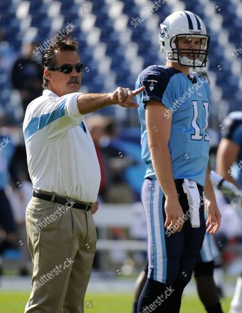 Jeff Fisher, Chris Simms. Tennessee Titans head coach Jeff Fisher, left, and quarterback Rusty Smith (11) are shown before the start of an NFL football game between the Tennessee Titans and the Washington Redskins, in Nashville, Tenn