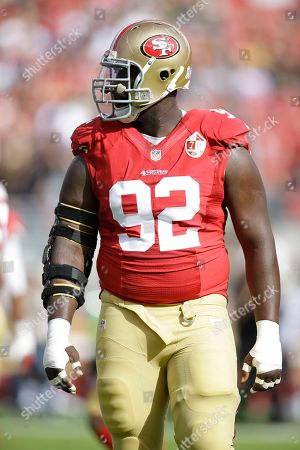 San Francisco 49ers defensive end Quinton Dial before the start of an NFL football game against the New Orleans Saints, in Santa Clara, Calif